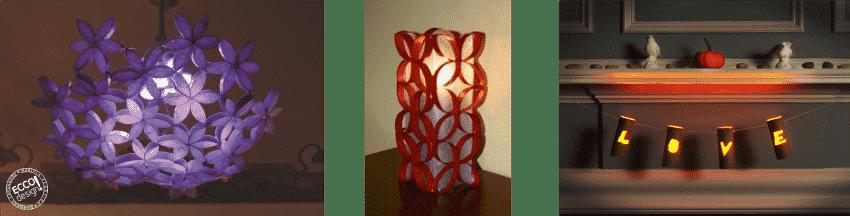 lampara rollos de cartón
